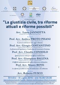 Camere civili di Puglia – Brindisi 8/07/2016